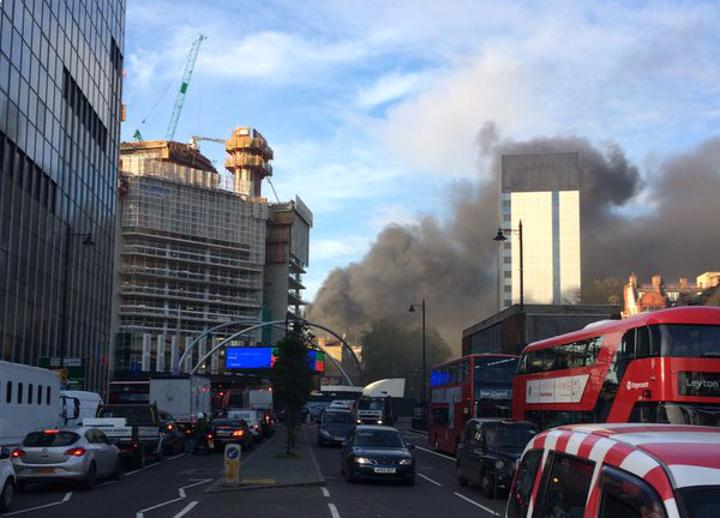 Fire breaks out in the heart of London's tech district